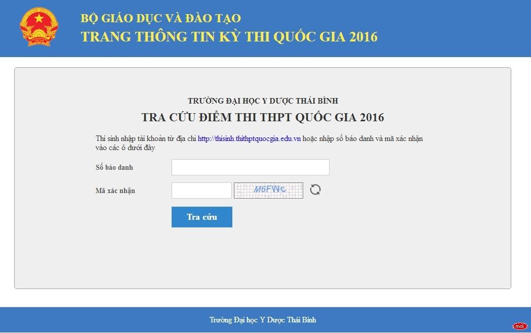 Trường Đại học Y Dược Thái Bình công bố điểm thi THPT năm 2016 cụm thi số 32
